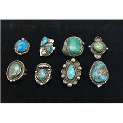 Eight Vintage Turquoise Rings