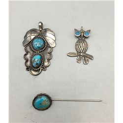 Two Vintage Pendants and Stick Pin