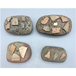 4 Prehistoric Manos Decorated with Pot Sherds