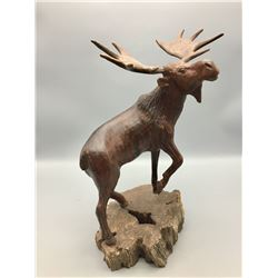Hand Carved Ironwood Moose Statue