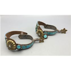 Sterling Silver Turquoise Inlay Spurs with Beaded Straps