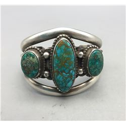 Vintage Three Stone Bracelet with Nice Turquoise