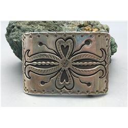 Hefty Sterling Silver Overlay Belt Buckle