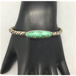 Vintage Turquoise and Sterling Silver Twisted Wire Bracelet