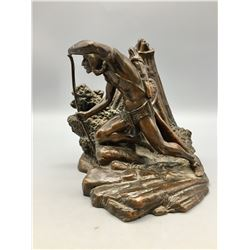 Vintage Native American Statue - Bookend