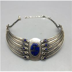 Lapis, 18k Gold and Sterling Silver Choker Necklace