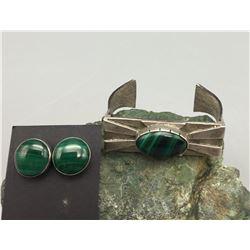 Unique Malachite Bracelet and Earrings
