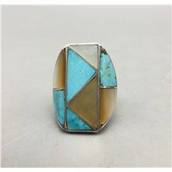 Vintage Turquoise and Mother of Pearl Inlay Ring