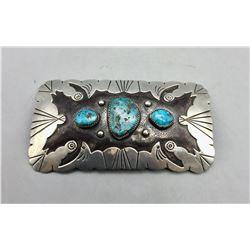 Large 3 Stone Turquoise Belt Buckle
