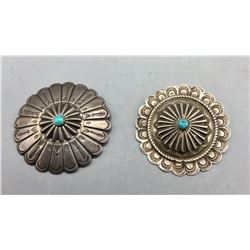2 Vintage Turquoise and Sterling Silver Pins