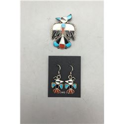 Vintage Zuni Inlay Pin and Earrings