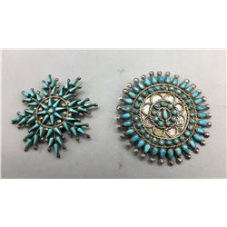 2 Vintage Turquoise Cluster Pins