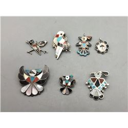 Group of 7 Vintage Zuni Inlay Pins and Pendants