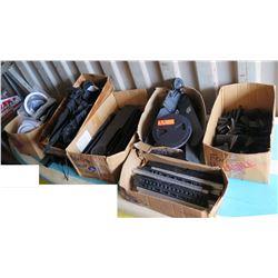 Qty 6 Boxes Misc Kayak Accessories: Paddle Clips, Foot Pedal & Braces, etc