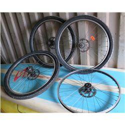 Qty 4 Bicycle Rims - 3 w/ Tires Miche 30.5x1, Sunrims Rhyno Lite, etc