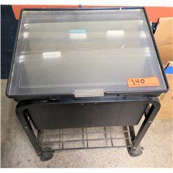 Rolling Plastic File Cabinet w/ Lid & Undershelf
