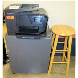 HP Officejet Pro 8715 Multi-Purpose Printer, 3-Drawer Metal File Cabinet & Wood Stool