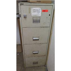 Fire Guard Beige 4-Drawer Metal Filing Cabinet w/ Hasp & Lock