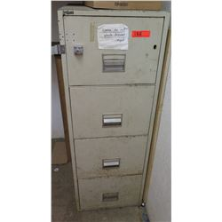 Fire Guard Beige 4-Drawer Metal Filing Cabinet w/ Hasp & Lock