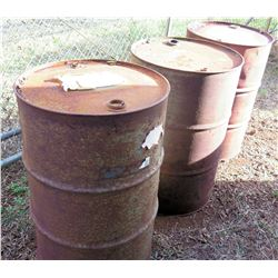 Qty 5 Empty 55-Gallon Metal Drums For Chevron/Mobil Motor Oil