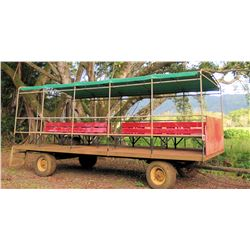 2-Axle Farm 'People Hauler' Trailer Wagon, Covered, Red Bench Seats