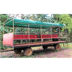 2-Axle Farm 'People Hauler' Trailer Wagon, Covered, Built on Knowles Farm Wagon Chassis