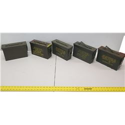 Qty 5 Ammo Cans - 200 Cartridges 7.62MM for M.G. M60-M79