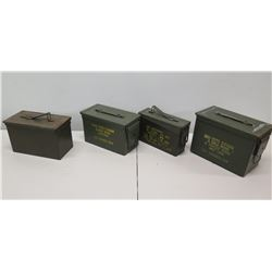 Qty 4 Ammo Cans - 800 Crtg 5.56 MM, 1150 Ctgs 5.56MM, etc