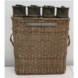 Qty 4 Kan Ladungen 1 bis 4 10.5cm Howitzer Shells in Basket