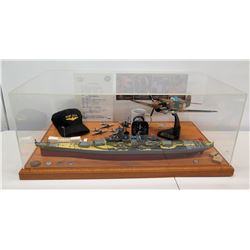 "Top Gun Tours Display Pearl Harbor Memorabilia in Case - Arizona, Planes, Cap 33""W x20""D x 14""H"