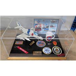 Top Gun Tours Display Memorabilia in Case - Navy VC-1 Plane, Patches, Mug