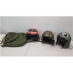 Qty 3 Vietnam War Aircraft Helmets, 2 Helmet Bags & 1 Box Survival Gear