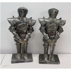 "Qty 2 Miniature Replica Suits of Armor Statues 20"" Tall"