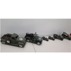 Qty 6 Replica Model Military Jeeps & Pick-Up Truck