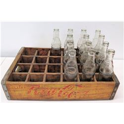 Vintage Wooden Drink Coca-Cola Case & 13 Glass Malolo Bottles