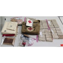 WWII Medical Supplies - Red Cross Flag, Shell Dressings Bags & Supplies