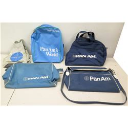 Qty 5 Vintage Pan Am Airline Bags