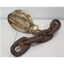 Battleship Anchor Chain & Antique Clipper Ship Pulleys
