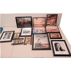 Qty 12 Framed Photos - Pearl Harbor Stars, National Geographic Covers, etc