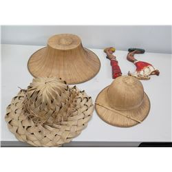 Qty 3 Hats - Lauhala, Straw & Safari Hat & 2 Dancing Girls Décor