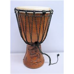 """Carved Base Wooden Conga Drum w/ Macrame Rope 19""""H"""