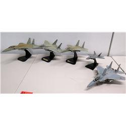 Qty 5 Model Fighter Jets - WA 57FWW, F-15 Hickam AFB, etc