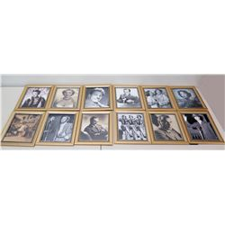 Qty 12 Framed Images - Bogart, Cagney, Saluting Girls, etc (some autographed)