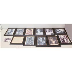 Qty 11 Framed Images & 1 Loose - Bogart, Garland, etc (some autographed)