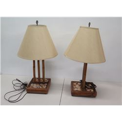 Qty 2 Wooden Lamps w/ Glass Encased Shell Base & Shades