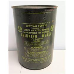 Survival Supplies Civil Defense Drinking Water Drum 17-1/2 Gallons