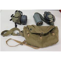 Qty 2 Vintage Gas Masks -  577.5 FM & 332 Rams w/ Canvas Bag
