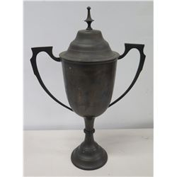 Metal Samovar Urn w/ 2 Handles, Lid & Pedestal Base