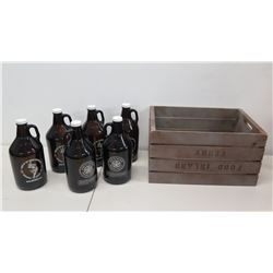 """Qty 6 """"Home of the Brave Beverage Company"""" Bottles & Ford Island Ferry Box"""
