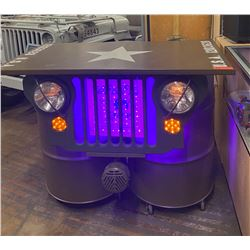 "Jeep Motif Custom Table, Lights Up, Horns Sound (see video) - Wiki Waki Woo, 4' x 30"" x 40""H"